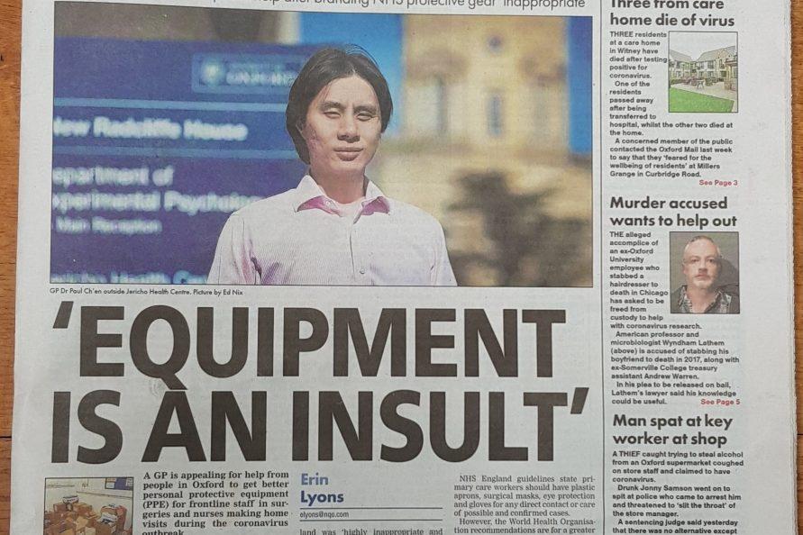 Oxford Mail 16 April 2020 Dr Ch'en PPE coronavirus