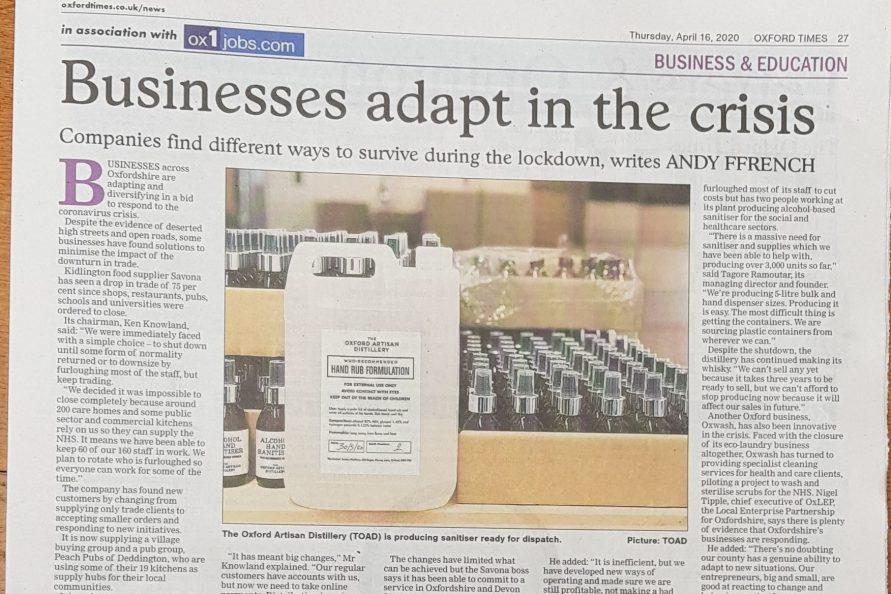 Oxford Times 160420 coronavirus businesses adapt