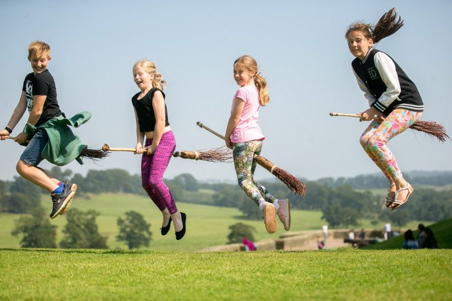 Eager to learn how to ride a broomstick - Training at Alnwick Castle